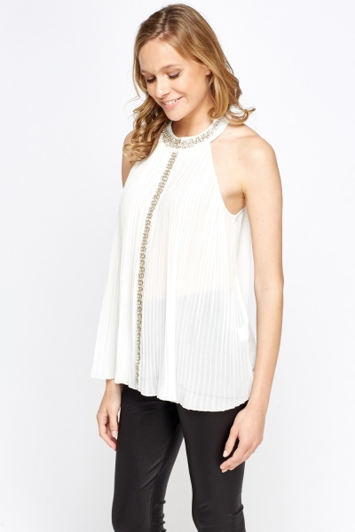 Encrusted Pleated High Neck Top