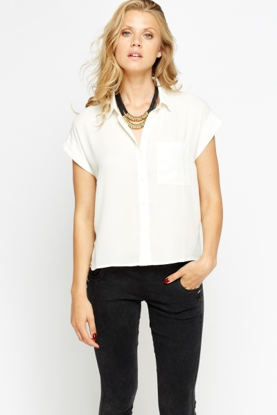 Off White Casual Sheer Shirt Blouse