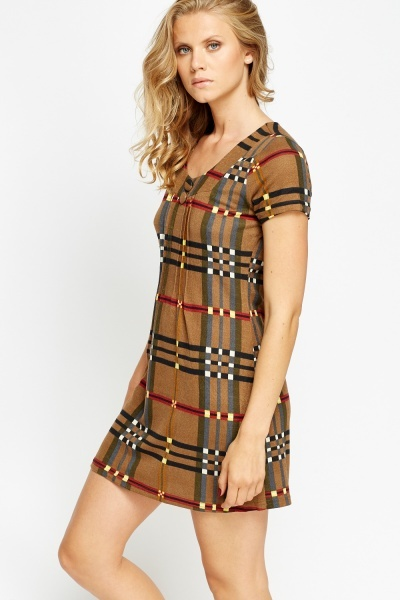 Pleated Checked Shift Dress