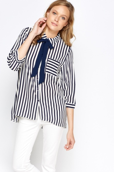 Textured Tie Up Striped Shirt Blouse