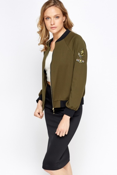 Badged Bomber Jacket