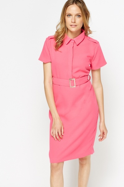 Belted T-Shirt Midi Basic Dress