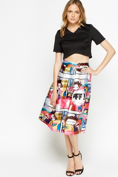 Comic Printed Midi High Waisted Skater Skirt