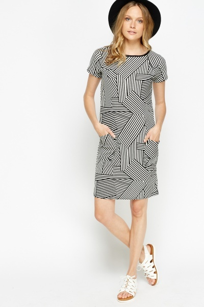 Geo Striped T-Shirt Dress