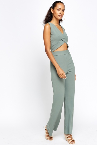 Crop Top And Trousers Set