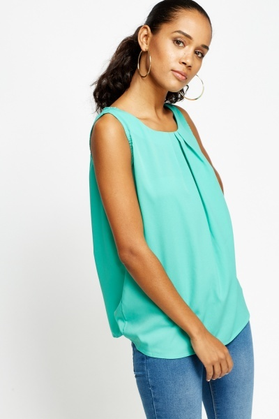 Pleated Neck Silky Top