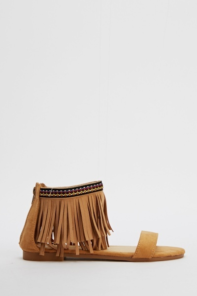 Fringed Ankle Flat Sandals