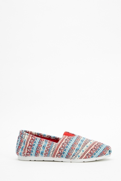 Striped Aztec Print Flat Shoes