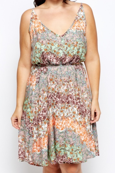 Floral Beige Swing Dress