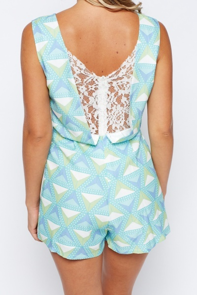 Lace Insert Back Printed Playsuit