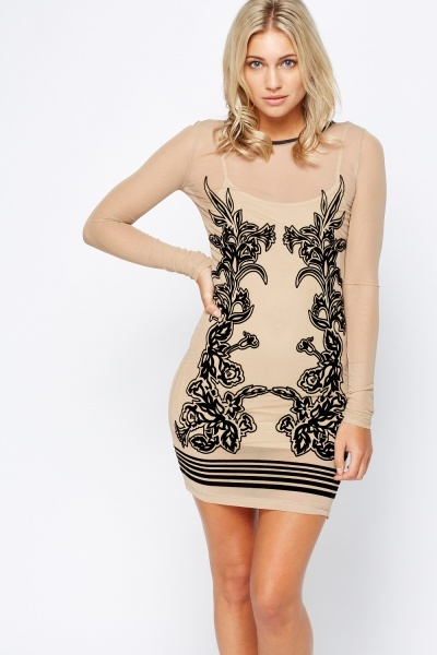 Nude Mesh Contrast Bodycon Dress