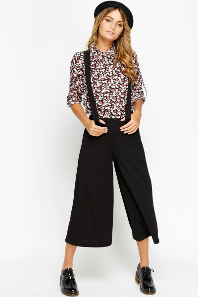 Braced Black Cropped Wide Leg Trousers