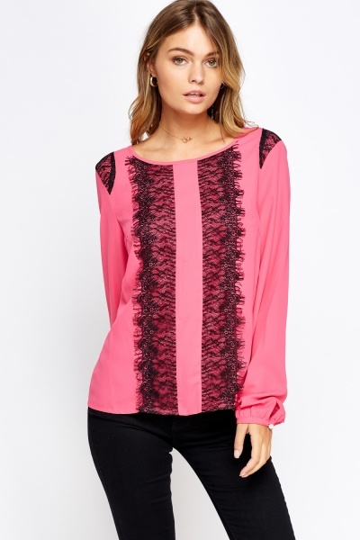 Lace Insert Sheer Blouse