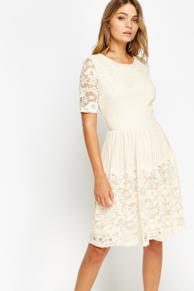 Lace Overlay Nude Skater Dress