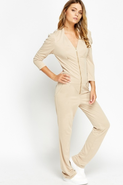 Long Sleeve Zip Front Jumpsuit