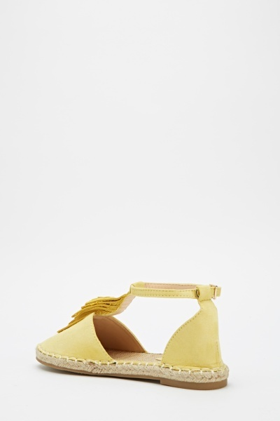 Yellow Suedette Fringe Sandals