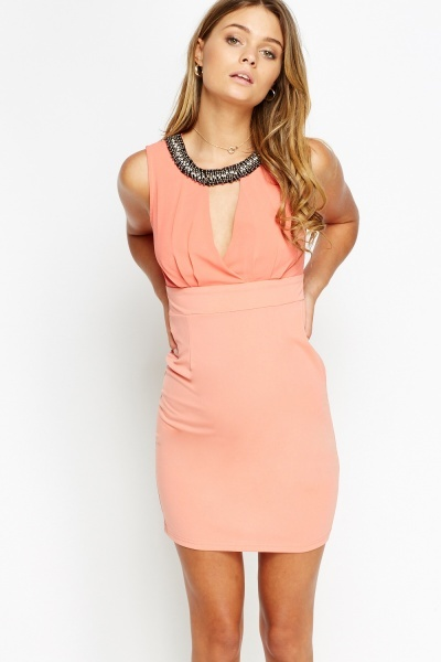 Embellished Neck Mini Bodycon Dress