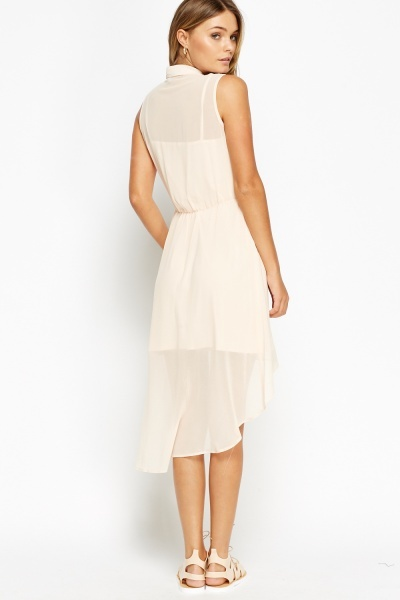 Mesh Bodice Dip Hem Dress