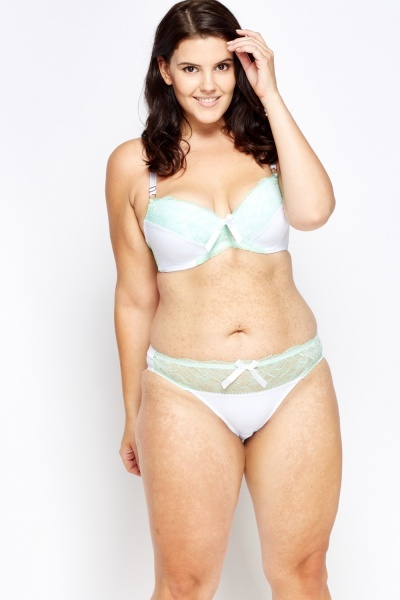 Metallic Lace Contrast Bra And Brief Set Just 163 5