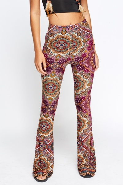 Purple Orante Printed Disco Flared Pants