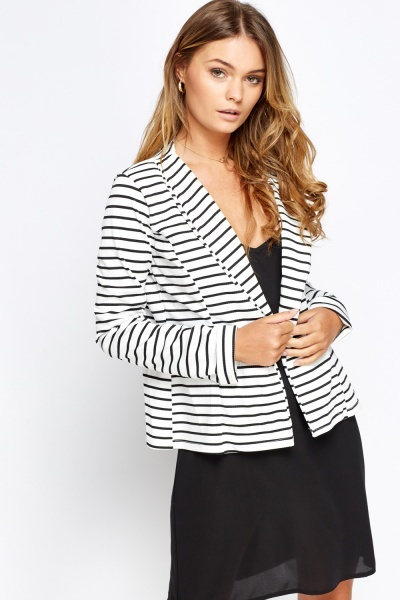 Striped Lapel Blazer