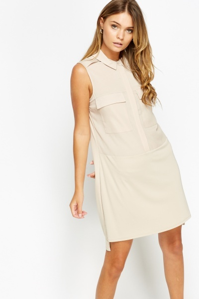 Taupe Shift Casual Dress