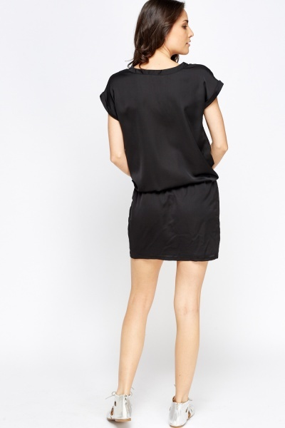 Black Wrap Elasticated Dress