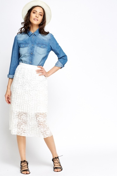 Pleated Lace Overlay Midi Skirt