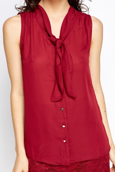 Tie Up Burgundy Blouse
