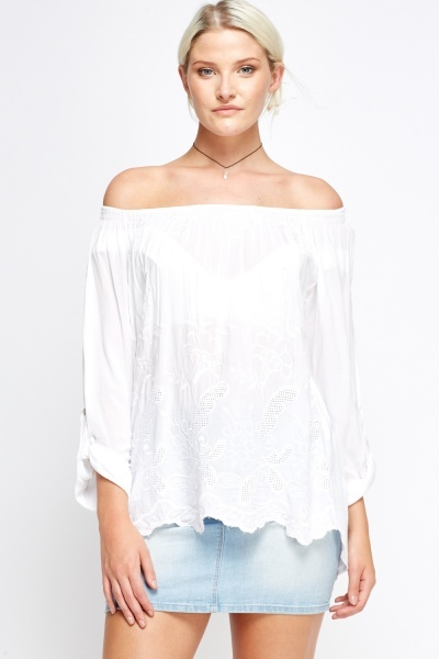 Lace Printed Off Shoulder Top