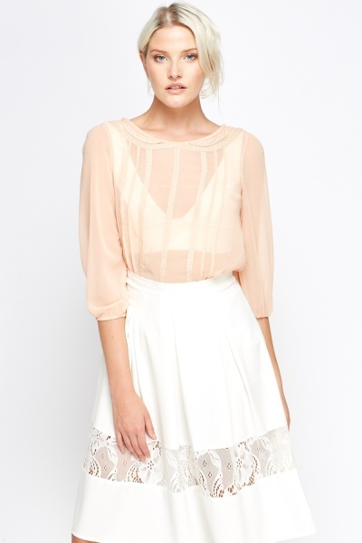Image of Sheer Lace Trim Blouse