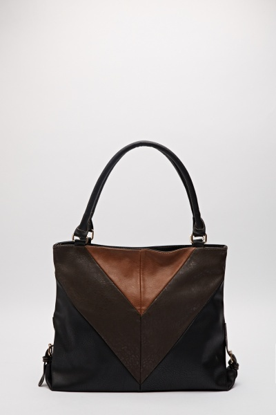 Multi Tone Faux Leather Hand Bag