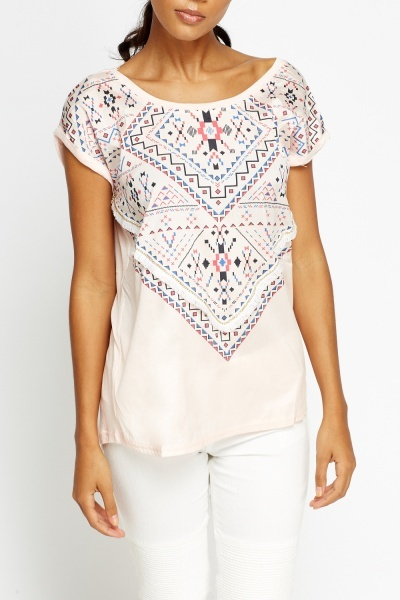 Embroidered Aztec Print Top