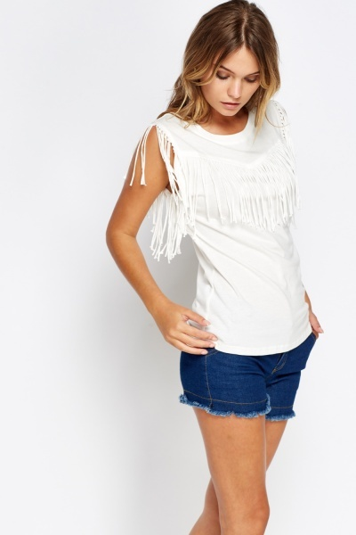 Fringe Trim Casual Top
