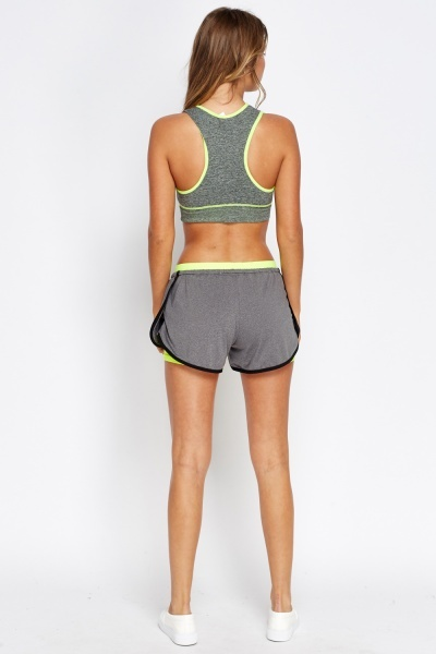 Grey Contrast Sport Shorts