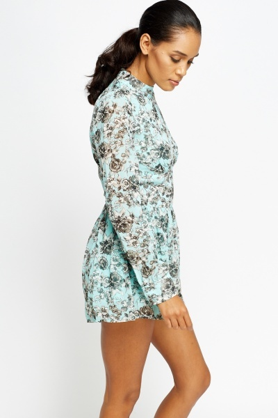 High Neck Floral Playsuit