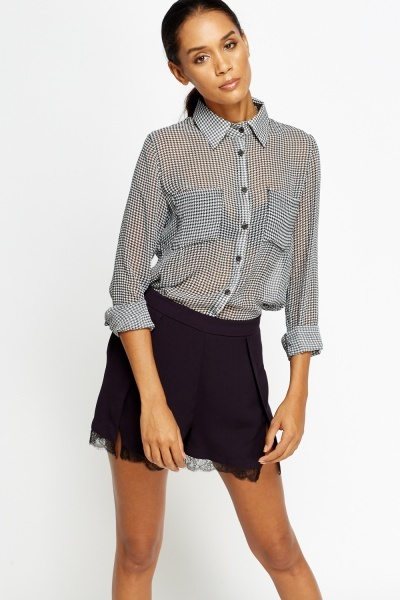 Houndstooth Sheer Blouse