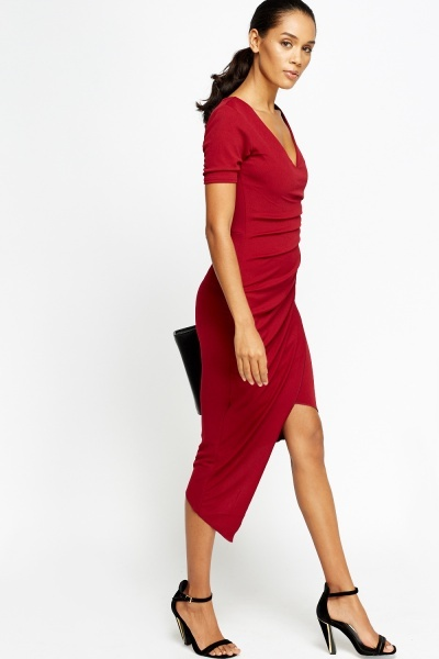 Asymmetric Drape Wrap Dress