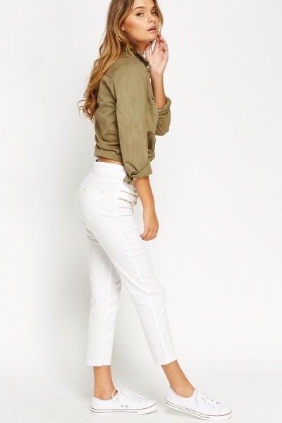 Gold Zip Detail White Trousers