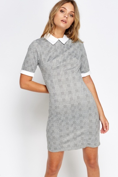 Grey Checked Collard Dress