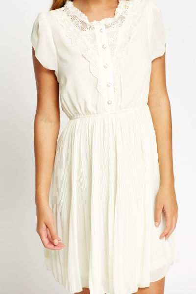 Mesh Insert Pleated Cream Dress