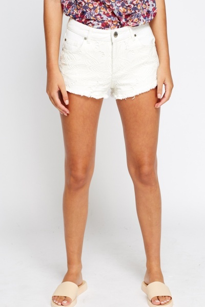 Off White Mesh Overlay Frayed Shorts