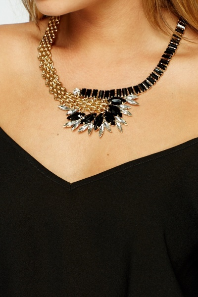 Encrusted Chained Necklace