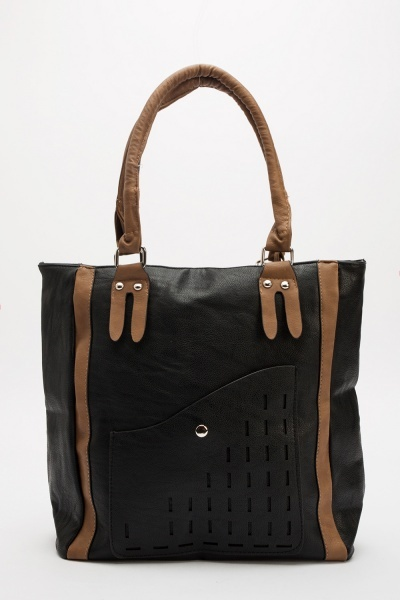 Faux Leather Laser Cut Pocket Bag