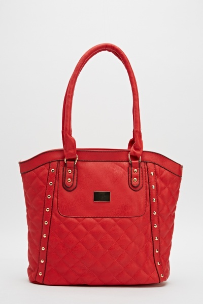 Quilted Studded Front Tote Bag