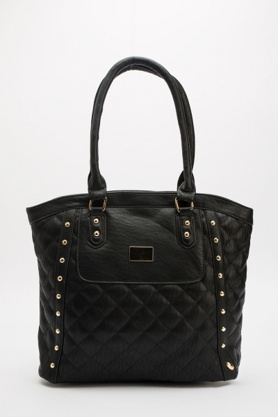 Quilted Studded Tote Bag