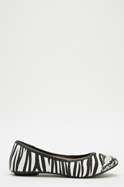 Image of Zebra Printed Ballet Pumps