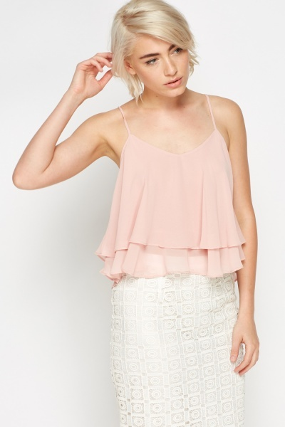 Light Pink Cropped Frill Cami