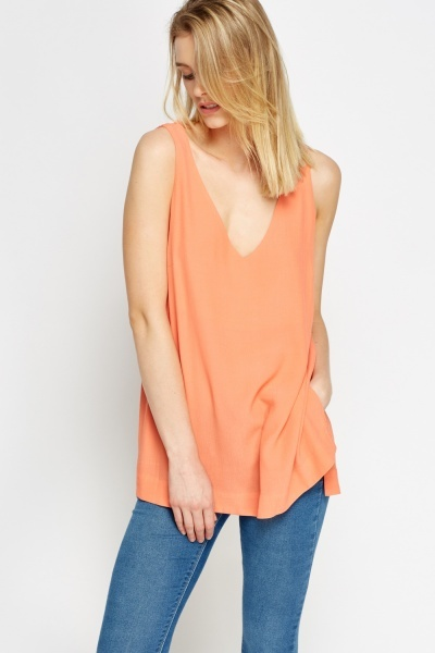 Low Cut Coral Top