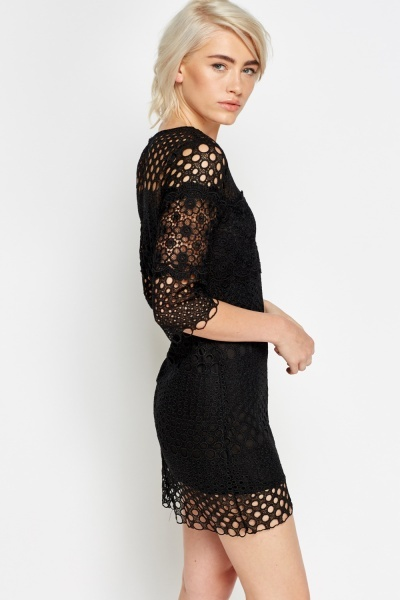 Mesh Layered Overlay Bodycon Dress